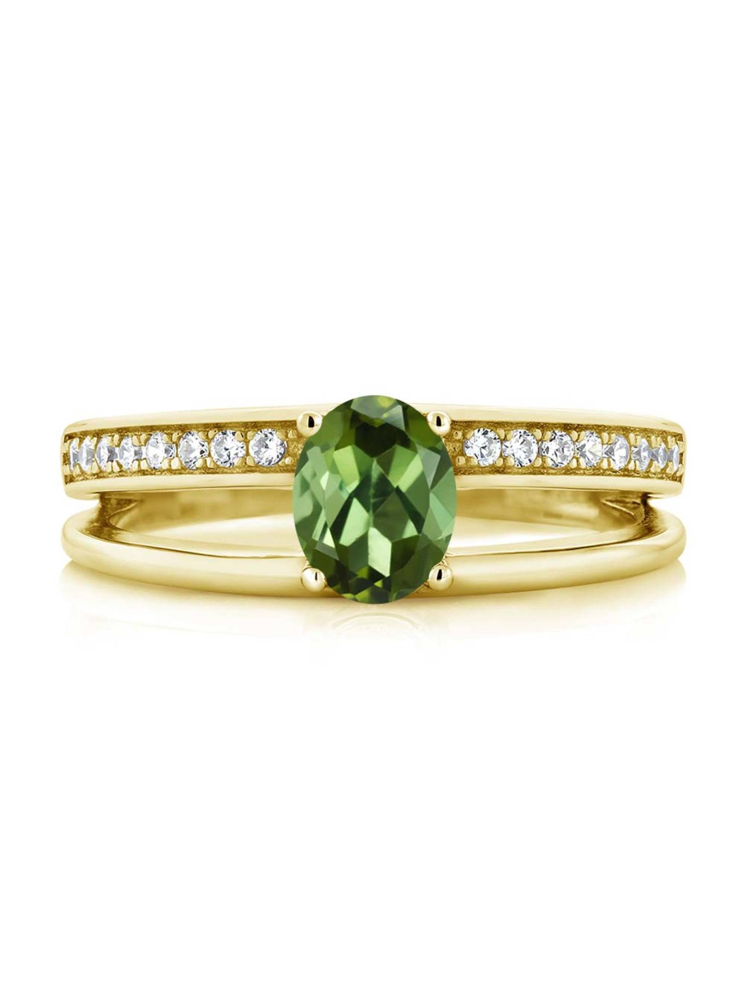 0.86 Ct Oval Green Tourmaline 18K Yellow Gold Plated Silver Ring by