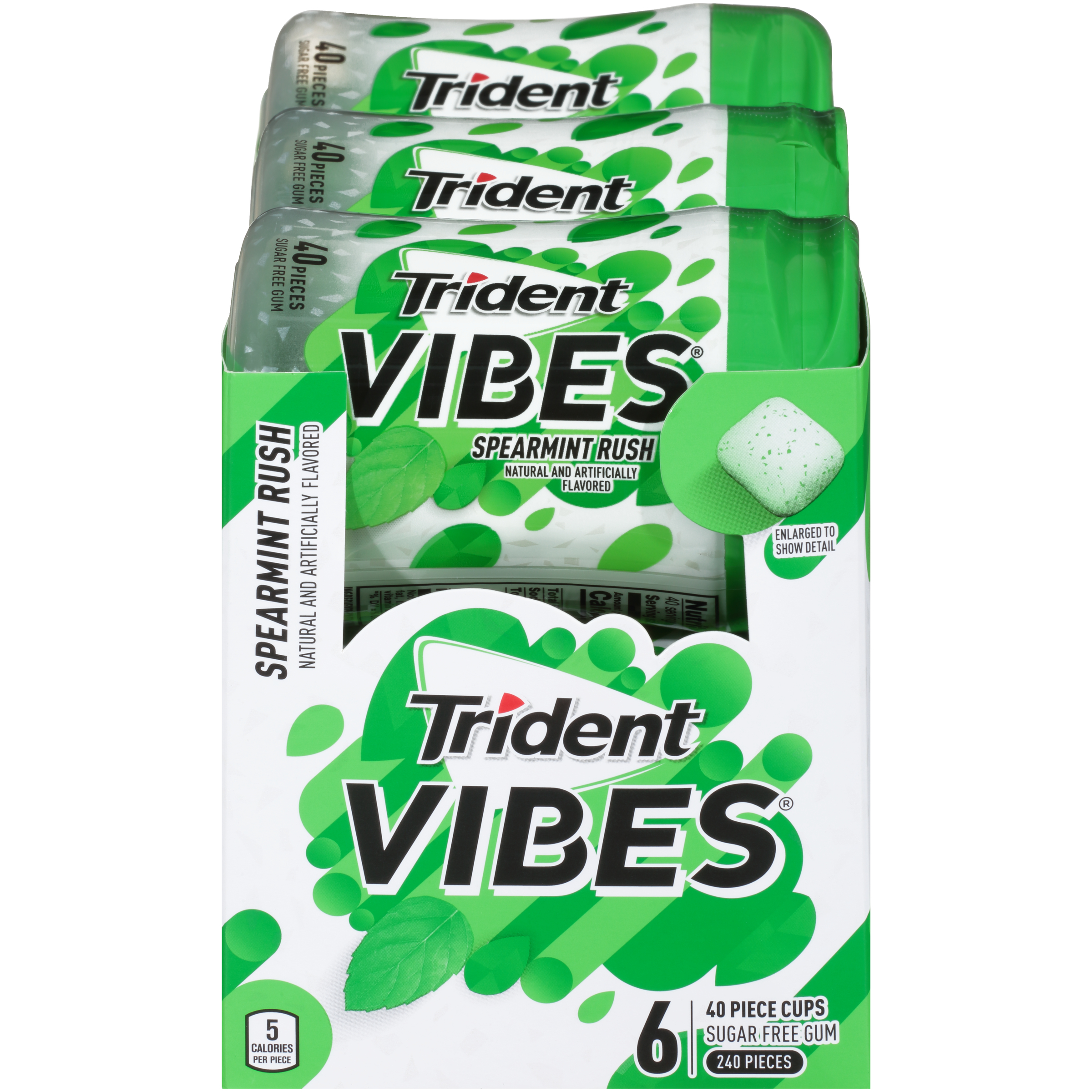Trident Vibes, Sugar Free Spearmint Rush Chewing Gum, 40 Pcs, 6 Ct