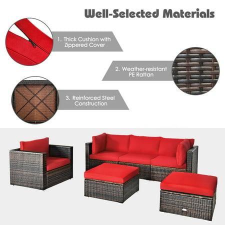 Made Of Premium Pe Rattan And Powder, Red Outdoor Furniture