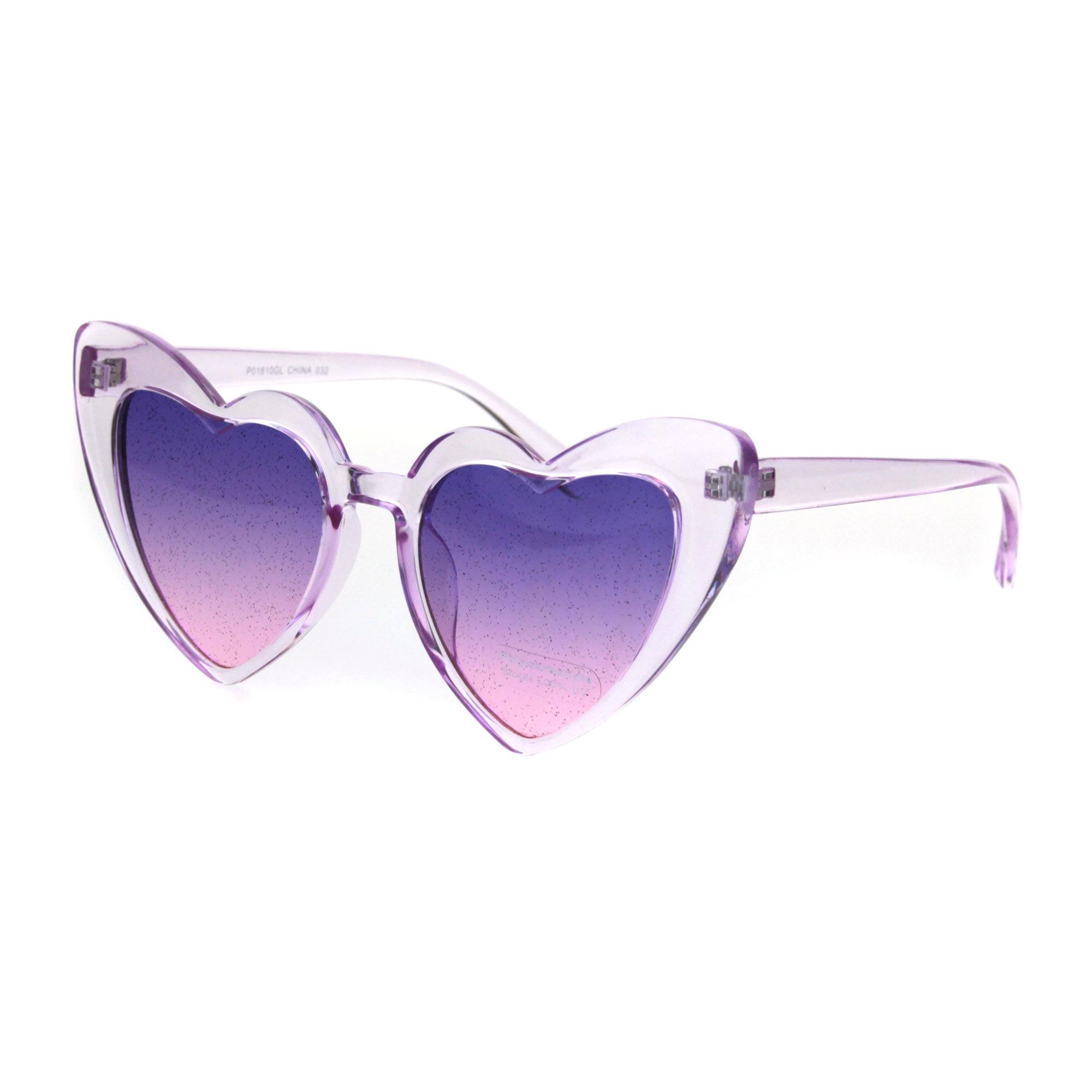 8bc02ca3cf32e SA106 - Womens Glitter Lens Heart Shape Plastic Valentine Cat Eye Sunglasses  Clear Pink - Walmart.com