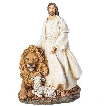 Jesus with Lion and Lamb Nativity Figurine Decoration 12""
