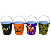 "Set of 4 Small 4"" Round Metal Halloween Pail W/Handle - 4 Different Designs (Spider Web, Pumpkin,Black Cat, Candy Corn) (4)"