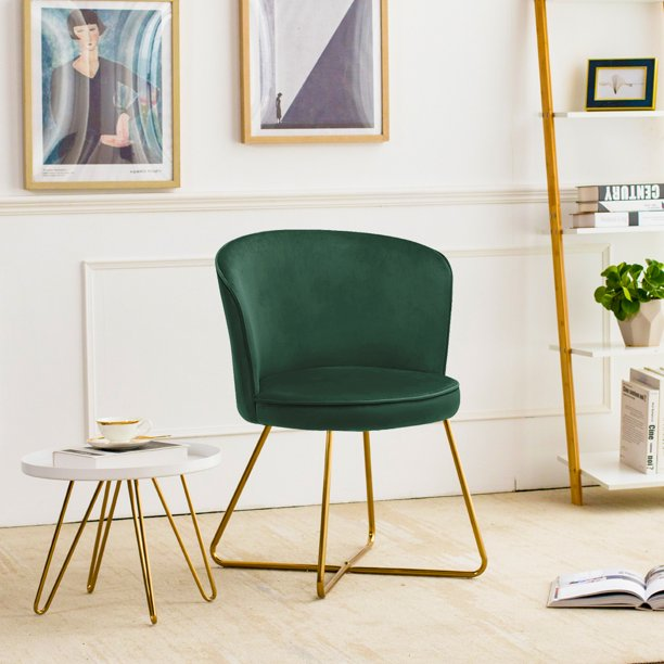 Duhome Small Accent Make-up Chair Home Office Guest Reception Chair Modern Upholstered Leisure Club Dining Chairs Velvet Cushion for Living Room Bedroom Reception Area Dark Green