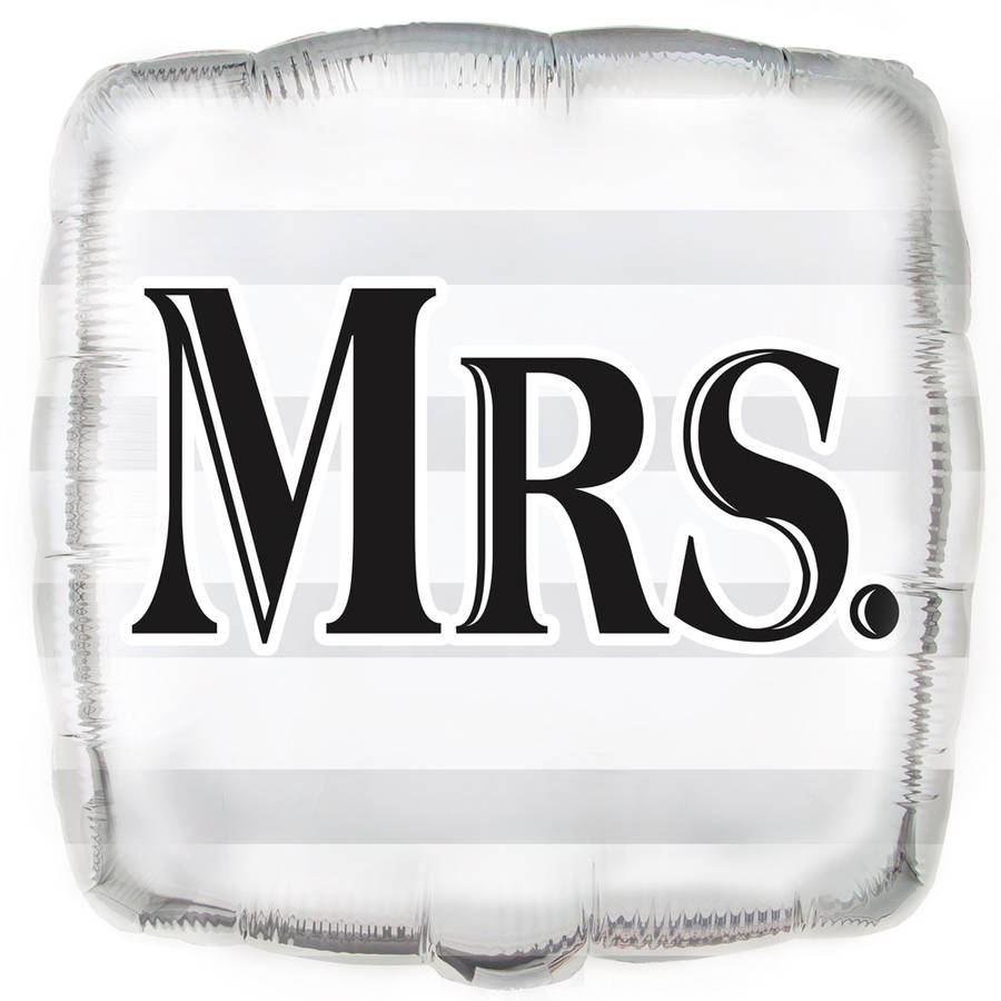 "Foil Square ""Mrs."" Wedding Balloon, 18 in, Silver, 1ct"