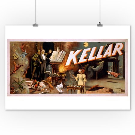 Kellar in a Room Full of Magic - Vintage Theater Advertisement (9x12 Art Print, Wall Decor Travel Poster)](Magic Decor)