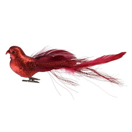 "Northlight 8"" Glittered Bird Figure Clip-On Christmas Ornament - Crimson (Nesting Bird Ornament)"