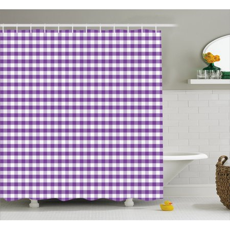 Checkered Shower Curtain Purple And White Colored Gingham Checks Rows Picnic Theme Vintage Style Print
