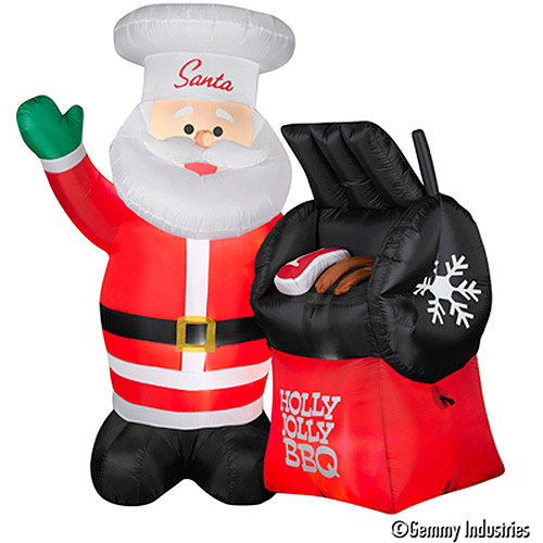 Image of CHRISTMAS 5INFLATABLE .5 FT TALL BBQ SANTA OUTDOOR HOLIDAY YARD DECR