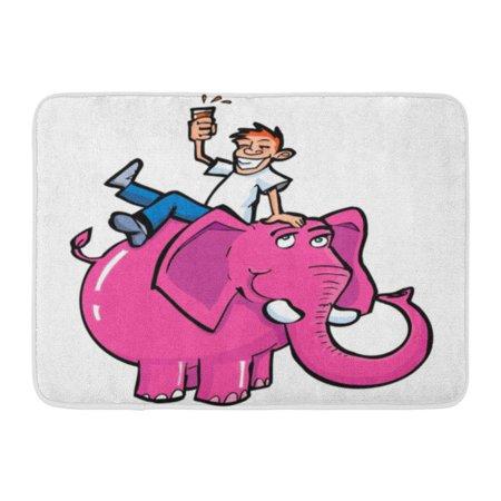 GODPOK Alcoholic Alcohol Cartoon Drunk Man Riding Pink Elephant White Abuse Drink Rug Doormat Bath Mat 23.6x15.7 inch