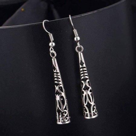 ON SALE -Cut-Out Tribal Horn Dangling Earrings Silver