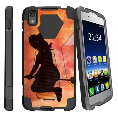 Nitro Fusion Berry - Alcatel One Touch Idol 4 and Nitro 49 Shock Fusion Heavy Duty Dual Layer Kickstand Case -  Witch on Broom