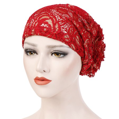 Outtop Women Lace Floral Muslim Ruffle Cancer Chemo Hat Beanie Turban Head Wrap Cap