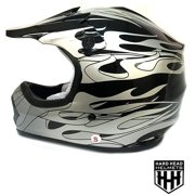 YOUTH & KIDS DOT Helmet Black/Flame Color Dirt Bike Style Youth Model (Large)