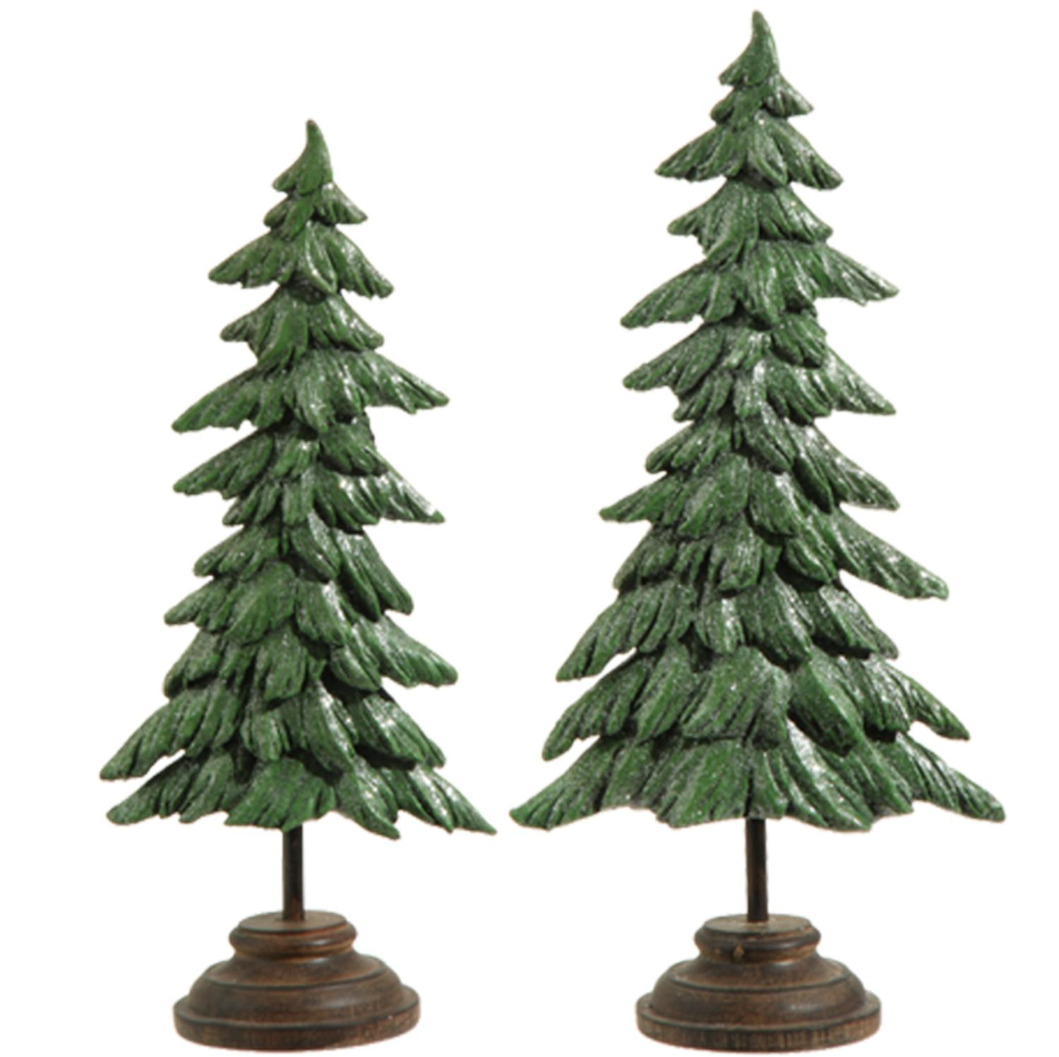 Set of 2 Green and Brown Glitter Pine Tree Christmas Decorations 17""