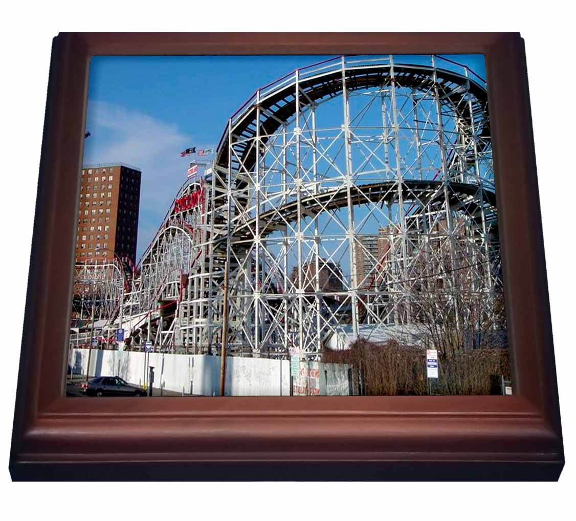 3dRose Coney Island Roller Coaster, Trivet with Ceramic Tile, 8 by 8-inch