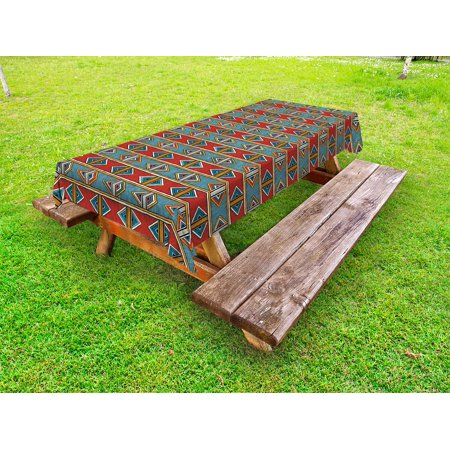 Kente Pattern Outdoor Tablecloth, Tribal Traditional Triangles and Stripes Indigenous Native Cultural Heritage, Decorative Washable Fabric Picnic Table Cloth, 58 X 84 Inches,Multicolor, by Ambesonne
