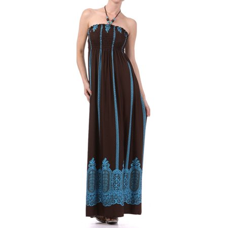 Vertical Stripes Print Beaded Halter Smocked Bodice Long / Maxi Dress - Brown - Small