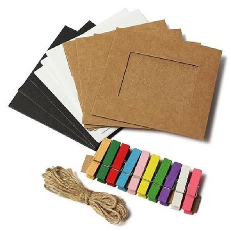 Holiday Clearance 10pcs Paper Photo Frame Clip Linen Jute Rope Wall Decoration Craft Paper Frame (Holiday Photo Frames)