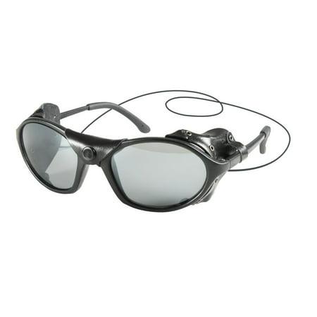 Tactical Sunglasses with Wind Guard, Black Glacier