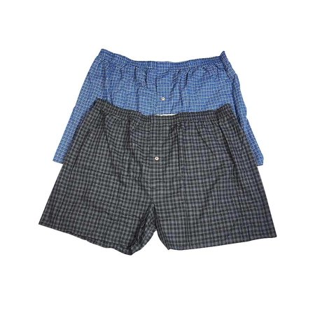 Hanes Mens Pack of 2 Woven Cotton Blend Sleep Lounge Boxer Short, 37469 Black/Blue Plaid /