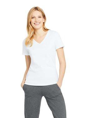 4261c8f9252b7f Product Image Women s Short Sleeve Shaped 1x1 Rib V-Neck T-Shirt