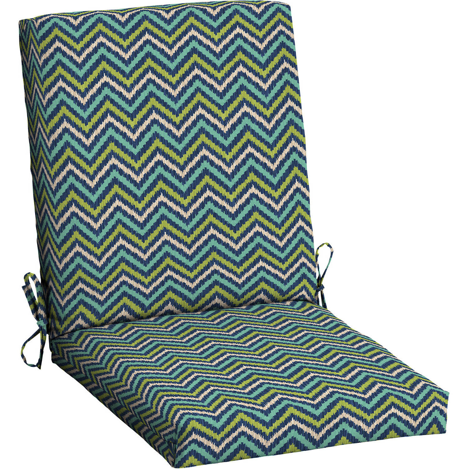 Mainstays Outdoor Patio Dining Chair Cushion, Teal Diamond Zigzag