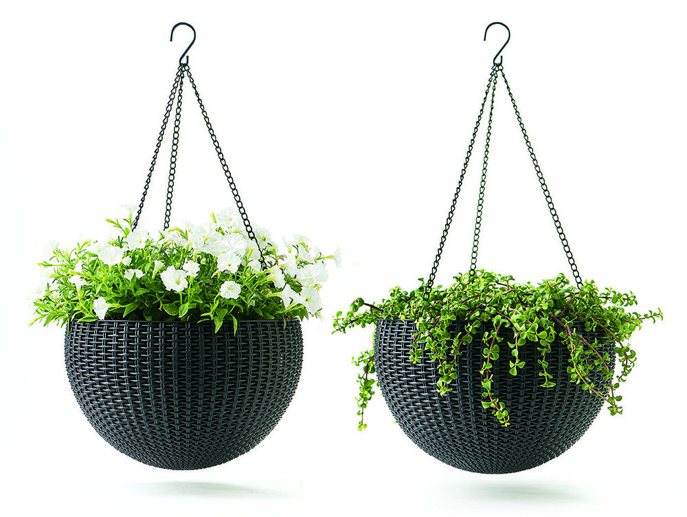 "Keter Round Resin Hanging Planters, 2pk, All-Weather Plastic Planters, 13.8"" Diameter, Brown Rattan by Keter"