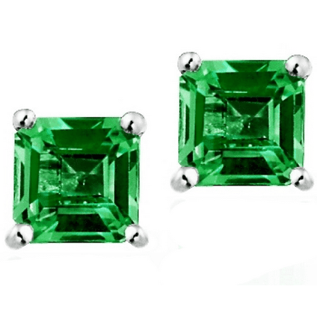 Sterling Silver 1.5ct Created Emerald Earrings