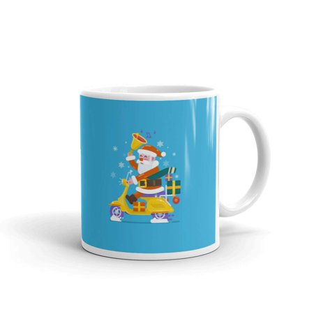 Santa Claus Riding a Scooter Yankee Swap Coffee Tea Ceramic Mug Office Work Cup Gift 11 oz ()