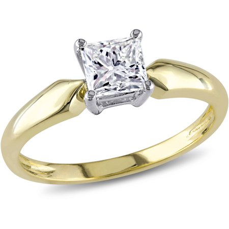 Miabella 3/4 Carat T.W. Princess Cut Diamond Solitaire Ring in 14kt Yellow Gold