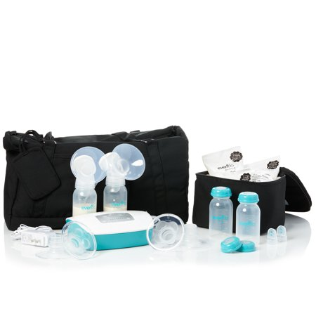 Evenflo Deluxe Advanced Double Electric Breast Pump with Customizable Settings and Tote Bag with (Best Breast Pump Settings)