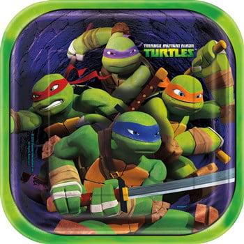Nickelodeon Teenage Mutant Ninja Turtles Square Dinner Plates - Ninja Turtles Birthday Party Supplies