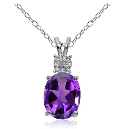 Amethyst Rock (Glitzy Rocks  Sterling Silver African Amethyst and Diamond Accent Oval Necklace - Blue)