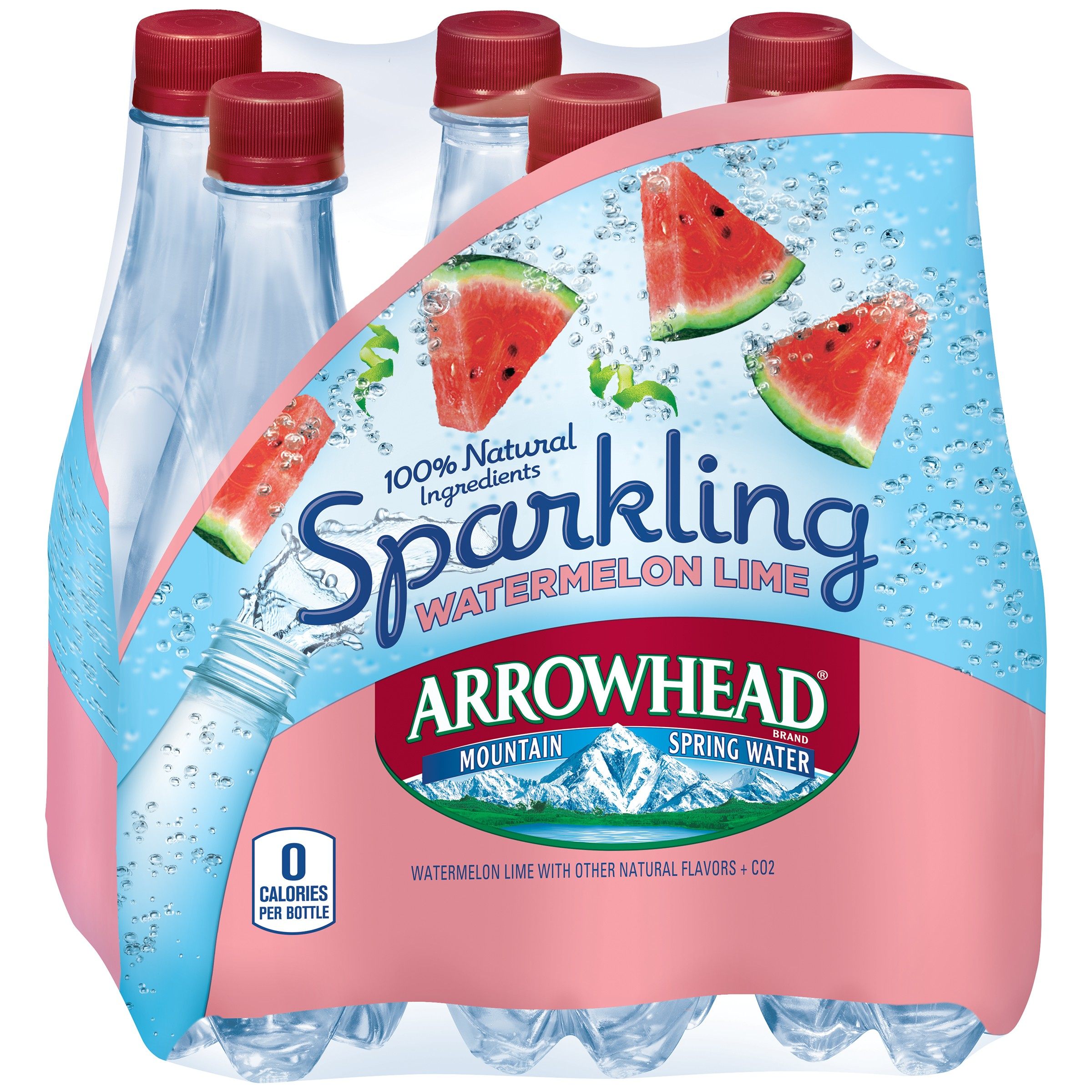 ARROWHEAD Brand Sparkling Mountain Spring Water, Watermelon Lime 16.9-ounce plastic bottles (Pack of 6)
