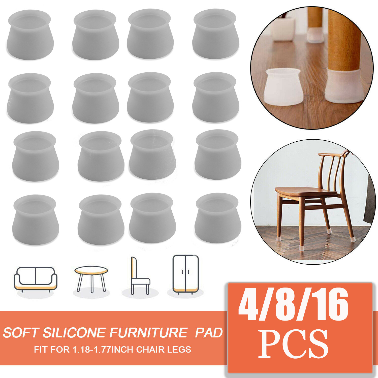 16pcs Silicone Table Chair Leg Protection Cover Furniture Feet Pad Cap Protector
