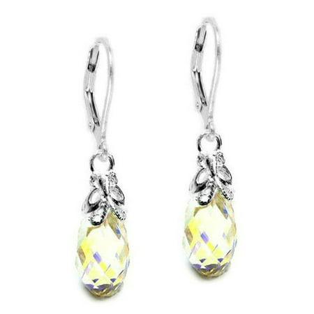 - Swarovski Elements Aurora Borealis Briolette Sterling Silver Bufferfly Leverback Earrings