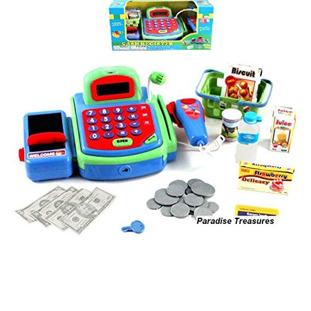 Electronic Cash Register Toy Scanner And Credit Card Reader Realistic Actions   Sounds Learning Toy Cash Register For Kids  26Pc   Us Seller