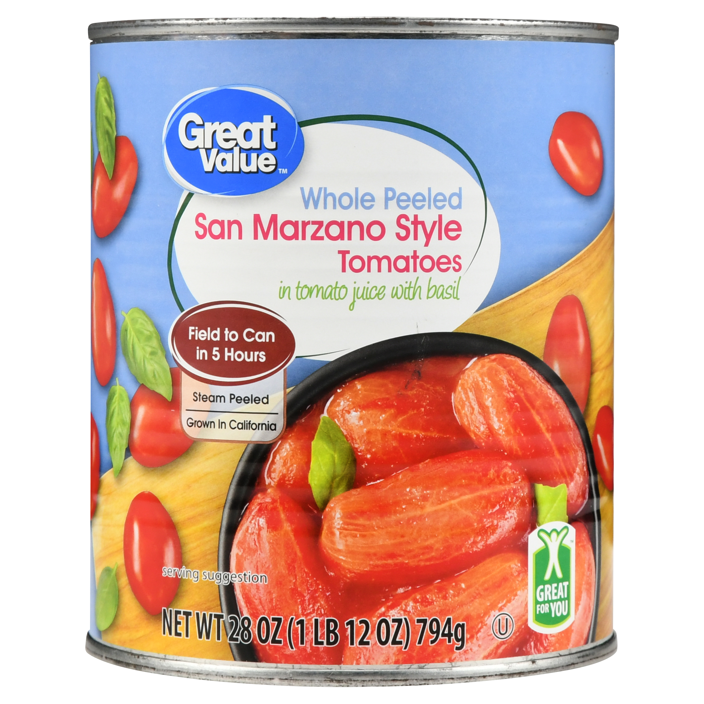 Great Value Whole Peeled Tomatoes, San Marzano Style, 28 oz