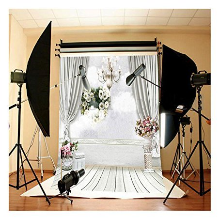 HelloDecor Polyster 7x5ft 3D Candle Light White Wall Beautiful Flowers Wooden Floor Wedding Backdrop Background Ideal for Wedding, Birthay Party, Newborn, Children, and Product Photography