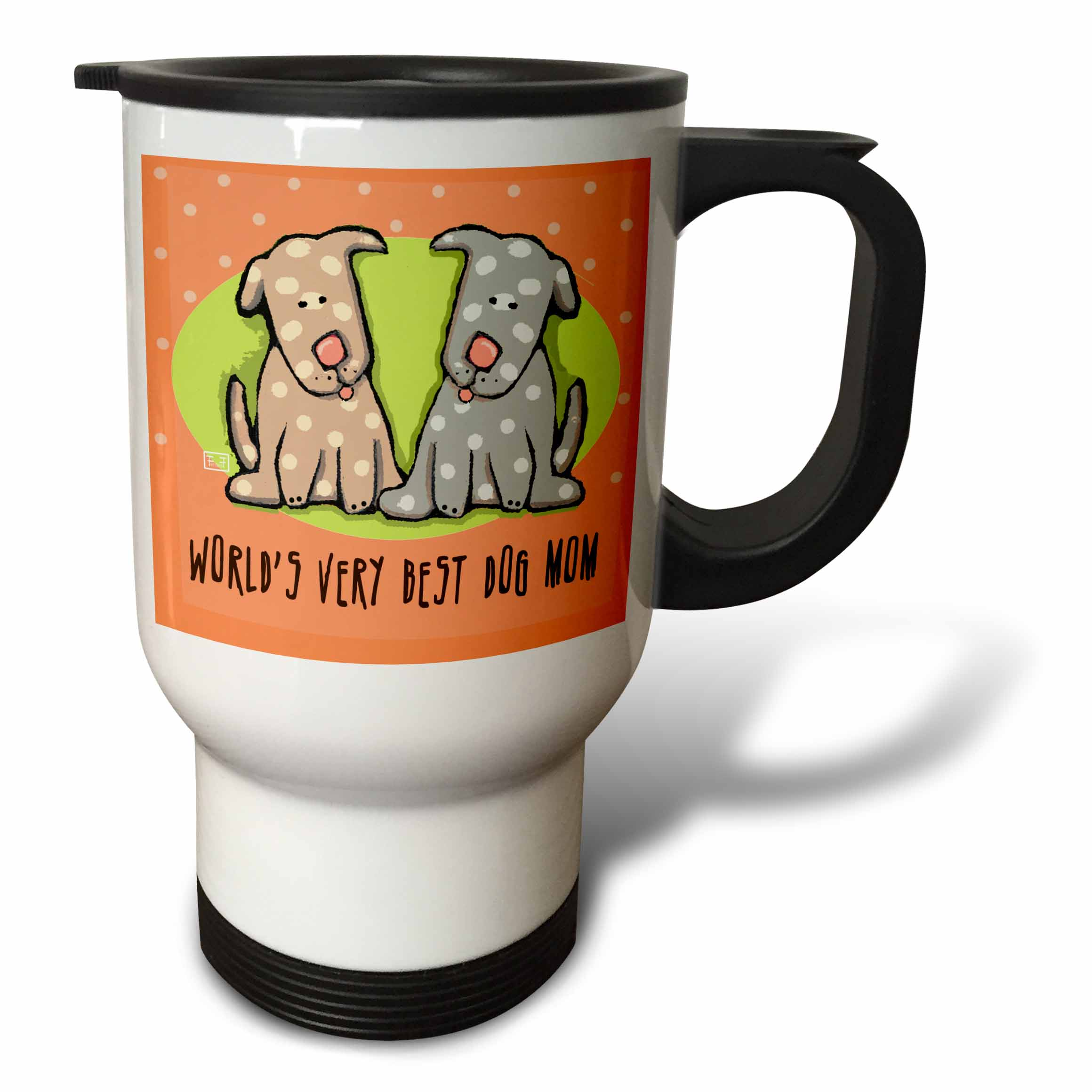 3dRose World s Best Dog Mom Cute Cartoon Puppies Pets Animals, Travel Mug, 14oz, Stainless Steel