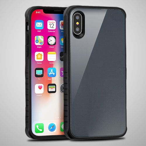 Grey Tempered Glass Duo Phone Case For Apple iPhone X Phone