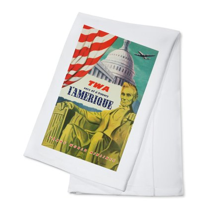 TWA - L'Amerique Vintage Poster (artist: Lacano) France c. 1950 (100% Cotton Kitchen Towel) ()
