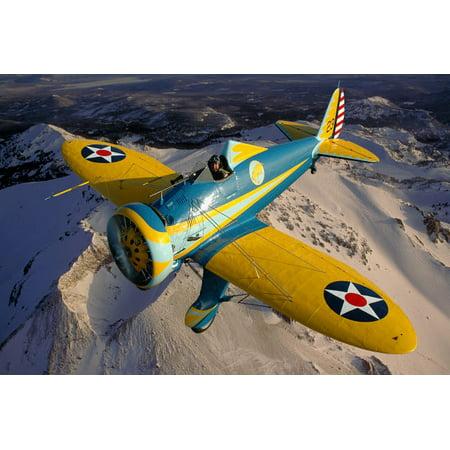 P-26 Pea Shooter flying over Chino California Poster Print by Phil WallickStocktrek