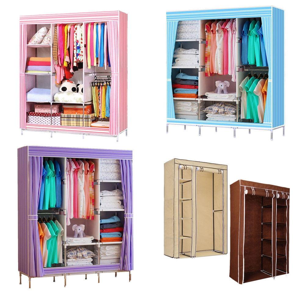 "Pink 68""+70"" Portable Garment Closet Large Wardrobe Garment Hanger Closet Organizer Storage Rack w/ Shelves Bedroom Furniture"