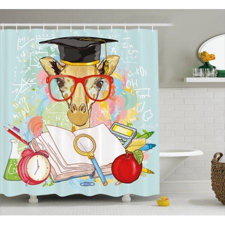 Graduation Decor Shower Curtain, Hipster Giraffe Animal with Glasses and Cap Geek Student Education School, Fabric Bathroom Set with Hooks, 69W X 70L Inches, Multicolor, by Ambesonne ()