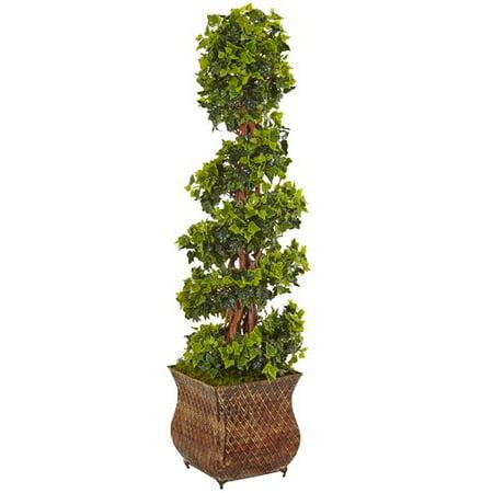 - Fleur De Lis Living Artificial English Spiral Floor Ivy Topiary in Planter