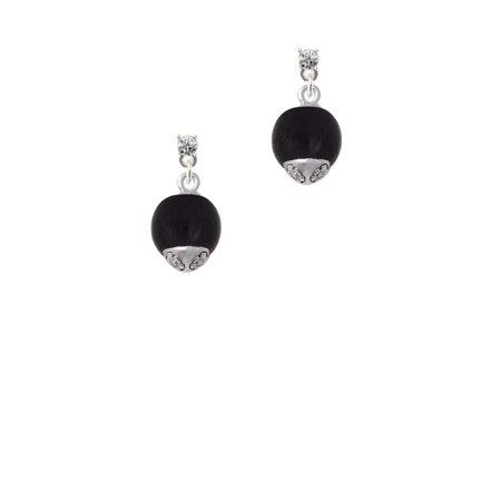12mm Black Roller Glass Spinner Clear Crystal Post Earrings (Created Green Quartz Earrings)