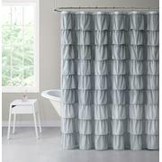 Shabby Ruffled Fabric Shower Curtain - Gray