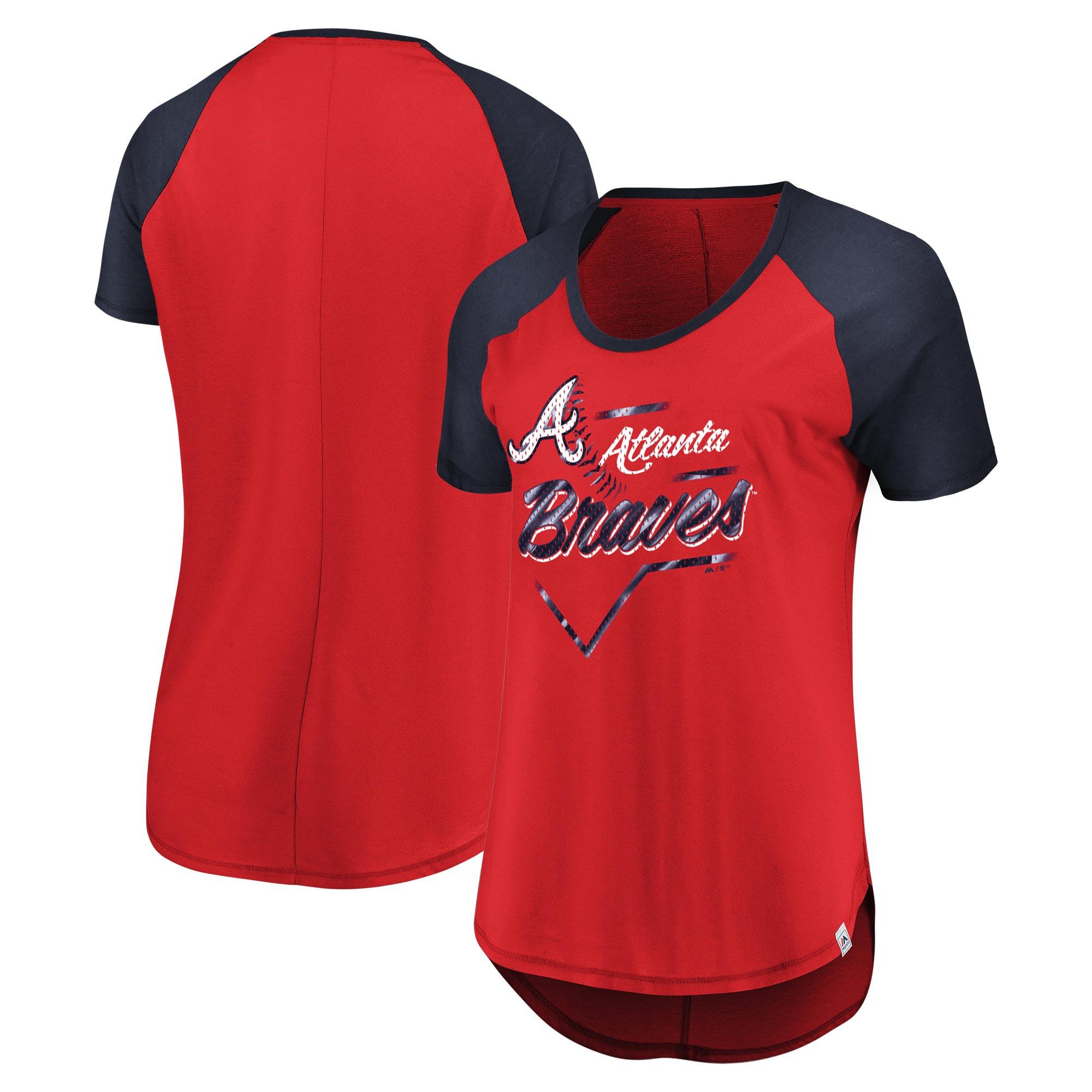 Atlanta Braves Majestic Women's Game Shake-Up Raglan T-Shirt - Red