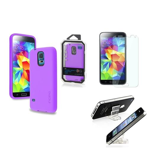 INCIPIO Purple NGP Case Cover+Mini Phone Holder+LCD Protector For Samsung Galaxy S5